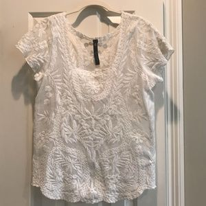 Jessica Simpson Sheer Lace Short Sleeve Top